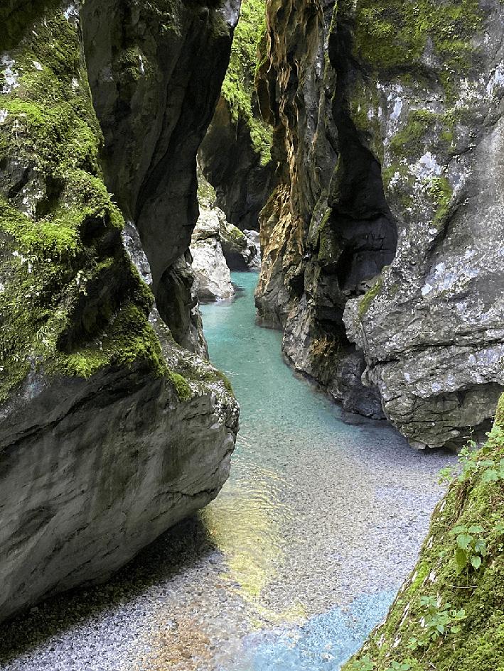 La rivière Tolminka dans les gorges de Tommin au cœur du Parc National du Triglav Slovénie